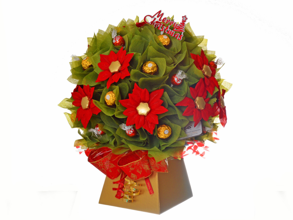 Christmas Poinsettia chocolate bouquet