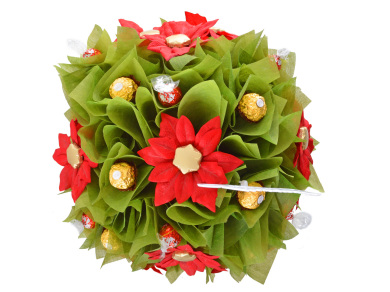 Poinsettia chocolate bouquet in green and red