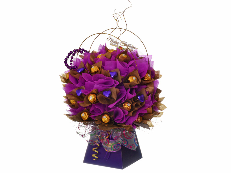 Purple chocolate bouquet with ferrero rocher