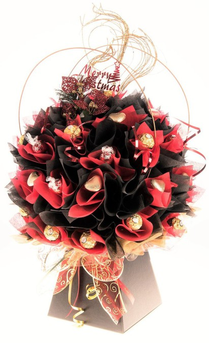 red and black ferrero rocher chocolate bouquett