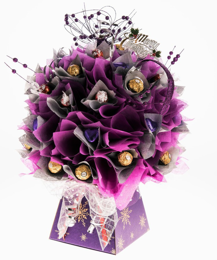 Purple ferrero rocher christmas chocolate bouquet
