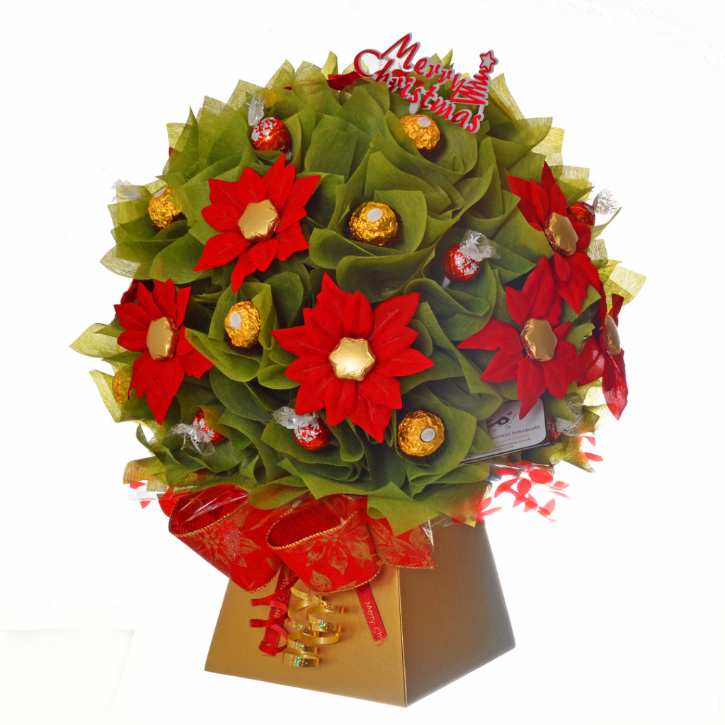 Chocolate bouquet in red, gold with poinsettia flowers