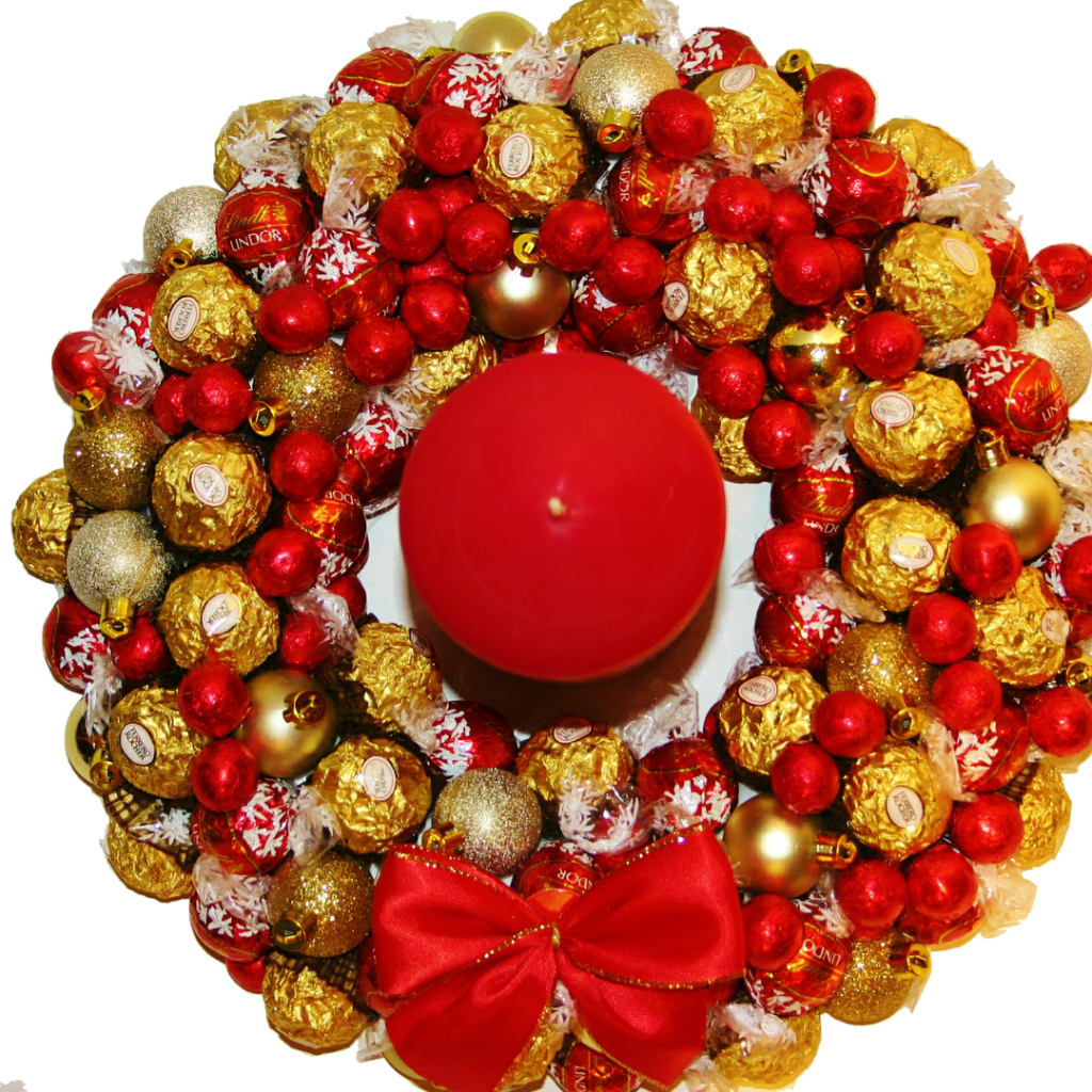 a chocolate wreath with lindoer lindt and ferrero rocher