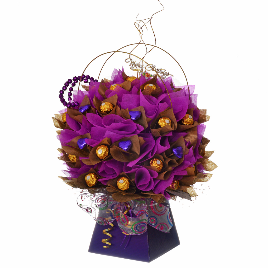 Luxury chocolate bouquet for christmas in purple and gold