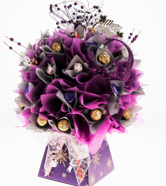 Purple and gold chocolate bouquet