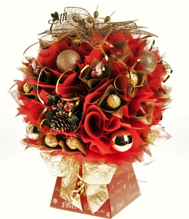 Red and Gold chocolate bouquet for Christmas