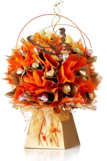 Chocolate Bouquet in Gold and Orange with Ferrero Rocher